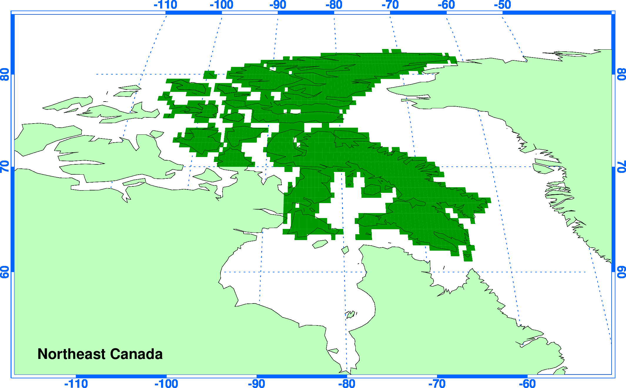the map shows the definition of this country or region on the 05 resolution land surface grid used for the cru ts observational data and the climgen