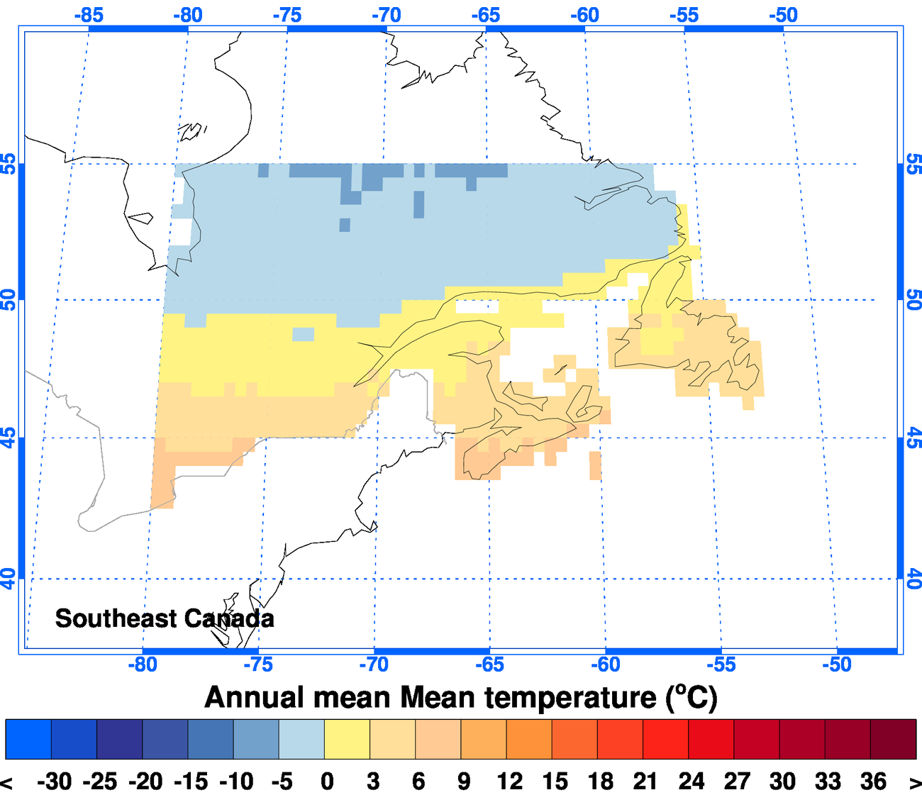 Map Of Southeast Canada.Climgen Southeast Canada Climate Observations